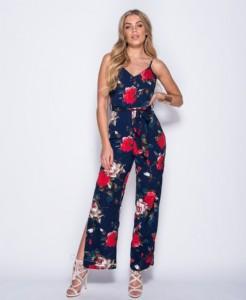 ca5168f9beee Ολόσωμη φόρμα με floral σχέδιο και σκίσιμο στα πόδια