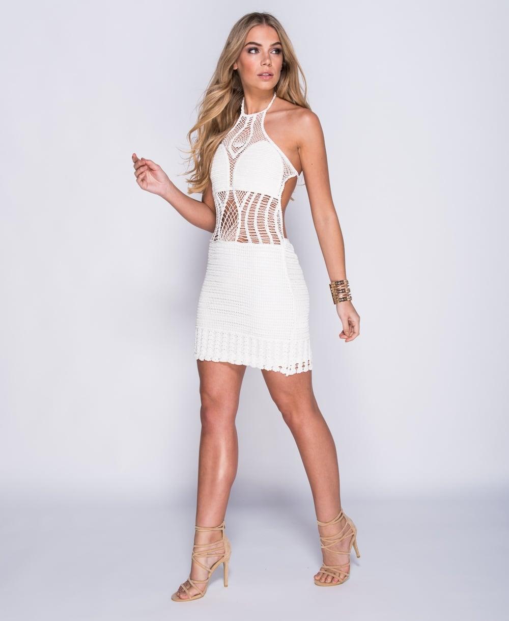 29c178b1030d Πλεκτό φόρεμα λευκό-εξώπλατο
