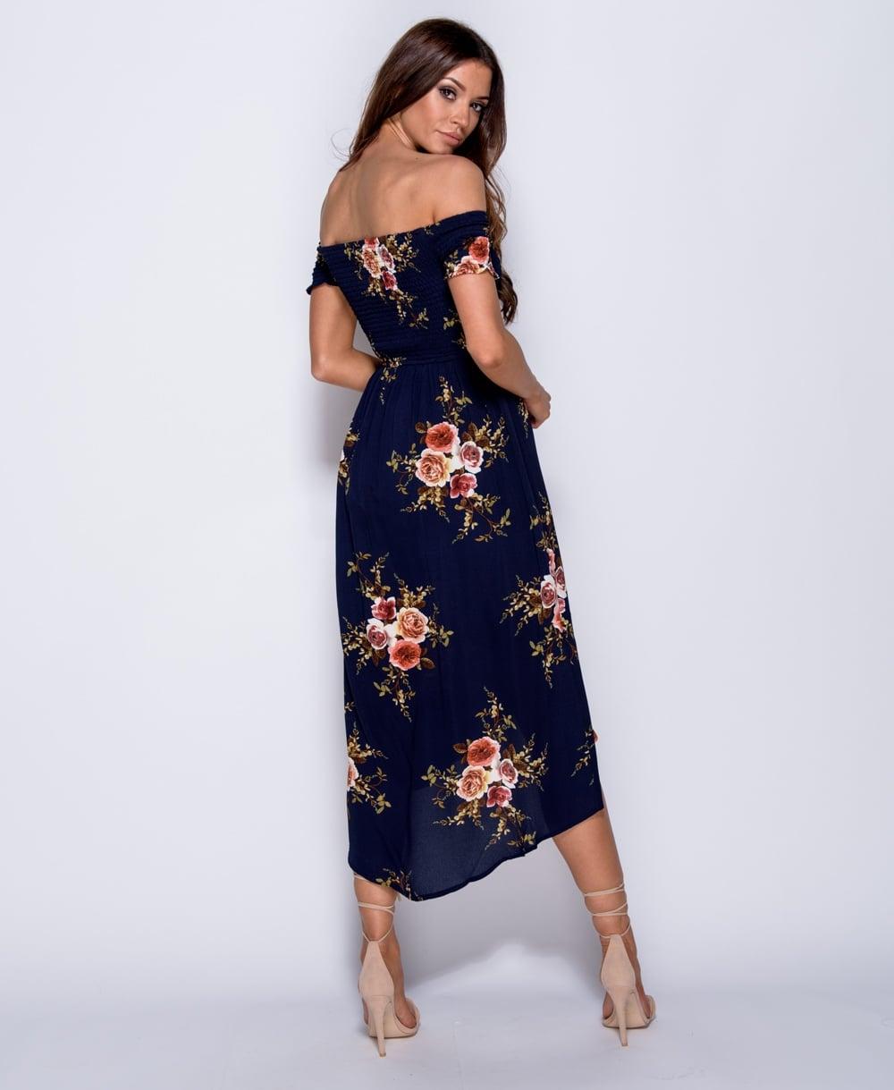 925f2e1b977d Γυναικείο bardot φόρεμα φλοράλ ασύμμετρο