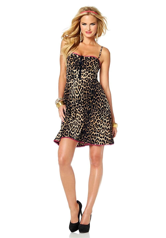 fecd0084d640 Λεοπάρ φόρεμα με δαντέλα και φερμουάρ στο στήθος